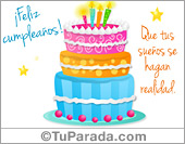 Tarjeta - Postal de cumpleaños con torta pastel