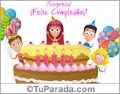 Tarjeta - Torta con sorpresa de cumpleaños