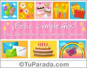 Tarjeta de cumpleaños rosa con cupcakes