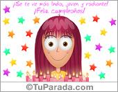 Tarjeta - Tarjeta con muchas velas de cumpleaños