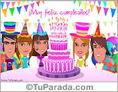 Tarjetas postales: Torta de cumpleaños rosa festiva