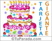 Tarjetas postales: Torta de cumpleaños gigante en magenta