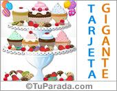 Tarjeta grande de cumpleaños con exquisitas cupcakes.