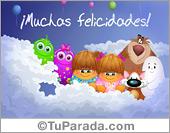 Tarjetas postales: Felicidades con globos y saludos