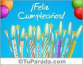 Tarjeta virtual de cumpleaños con velas, globos y estrellas.