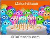 Tarjetas postales: Fiesta de cumpleaños con saludo
