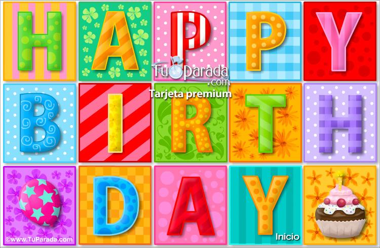Happy Birthday con movimiento, Cumpleaños, tarjetas