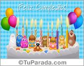 Tarjeta de feliz cumpleaños de grupo con torta y velas.