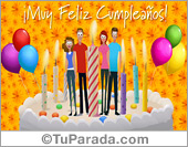 Tarjetas postales: Tarjeta de amigos con velas de cumpleaños