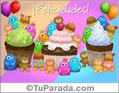 Tarjeta de felicidades con ricas cupcakes para alguien especial.