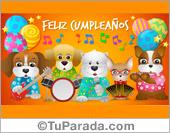 Tarjeta de cumpleaños con banda de música con perritos.