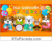 Tarjetas, postales: Tarjeta de cumpleaños con grupo musical