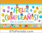 Tarjeta de feliz cumpleaños: Que se cumplan tus sueños. Tarjetas, cumpleaños.