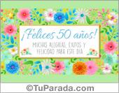 Tarjeta, deseos de felicidad a alguien que cumple 50 años.