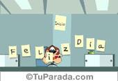 Tarjeta - Tarjeta de feliz día en oficina