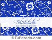Tarjeta - Felicidades floreado en azul