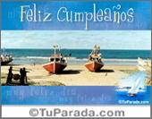 Tarjeta - Feliz cumpleaños con barcos en la playa