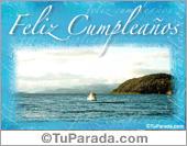 Tarjeta - Feliz cumpleaños de barco y lago