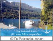 Tarjeta - Feliz cumpleaños con paisaje de lago
