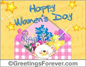 Women's Day - Greeting ecards: Happy Womens Day with little bear