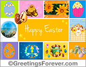 Ecards: Happy Easter ecard with small images