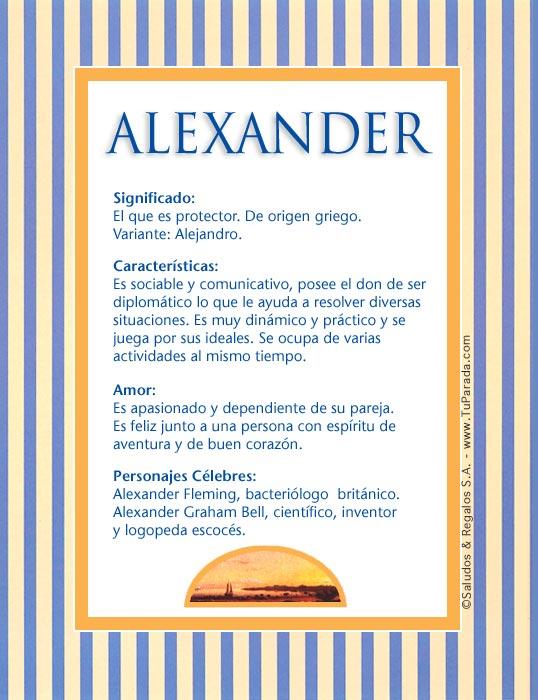 Alexander, imagen de Alexander