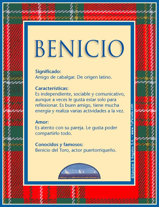 Benicio, imagen de Benicio