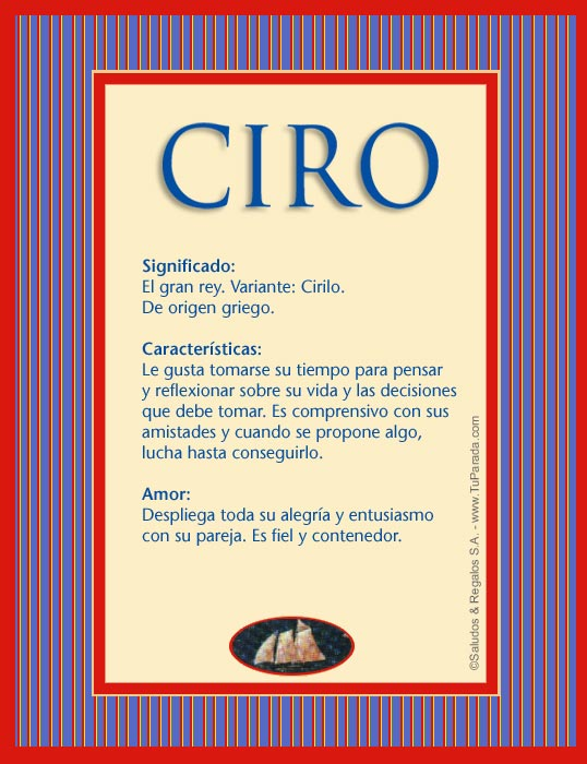 Ciro, imagen de Ciro