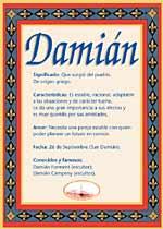 Nombre Damián