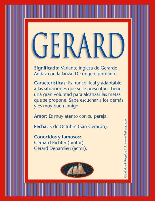 Gerard, imagen de Gerard