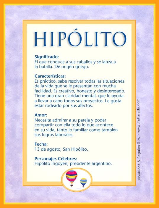 Hipólito, imagen de Hipólito