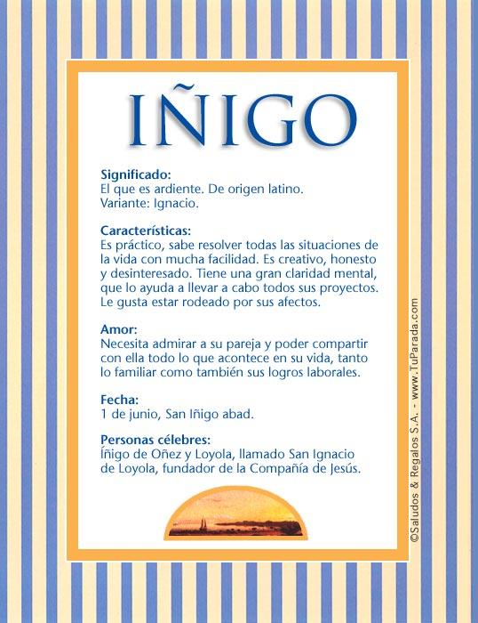 Iñigo, imagen de Iñigo