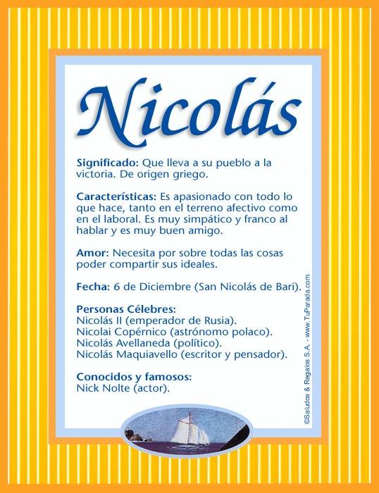 Nicolás, imagen de Nicolás