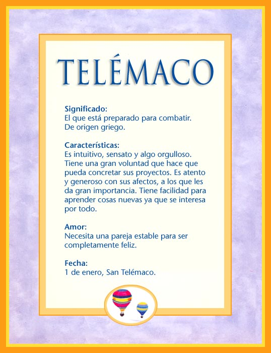 Telémaco, imagen de Telémaco