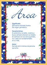 Origen y significado de Aroa