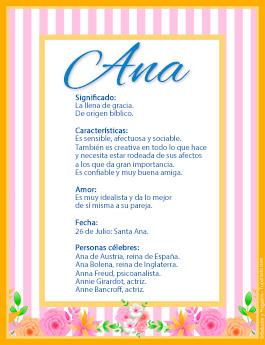 Origen y significado de Ana