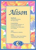 Origen y significado de Alison