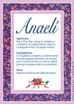 Origen y significado de Anaelí