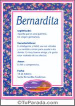 Origen y significado de Bernardita