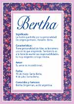 Origen y significado de Bertha
