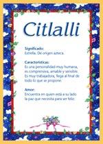 Nombre Citlalli