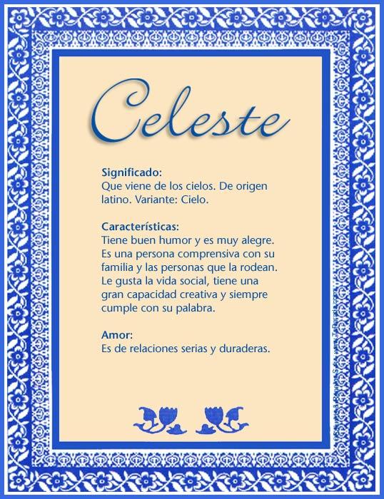 Celeste, imagen de Celeste