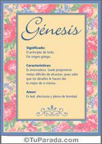 Nombre Génesis