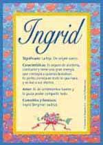 Origen y significado de Ingrid