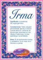 Nombre Irma