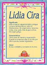 Origen y significado de Lidia Cira