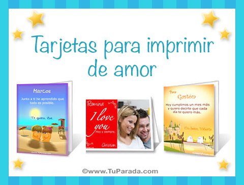 Tarjetas de Tarjetas para imprimir de amor