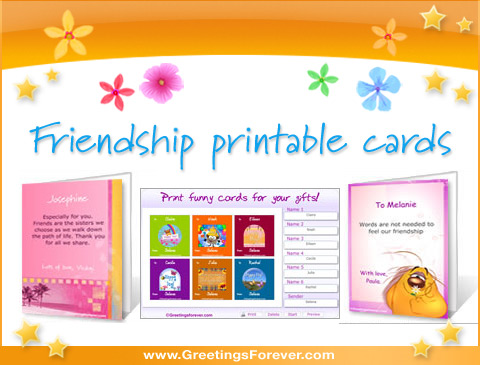 Friendship printable cards