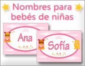 Tarjetas postales: Nombres para niñas, bebés, osito nena