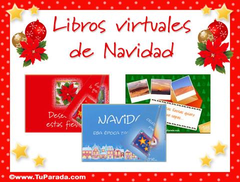 Tarjetas de Libros virtuales de felices fiestas.